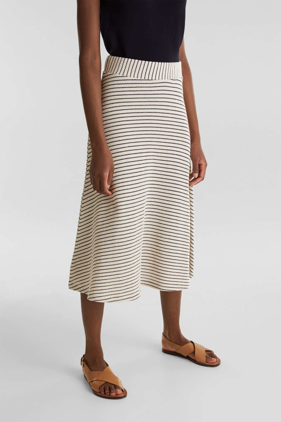 Jersey skirt with textured stripes, SAND, detail image number 5