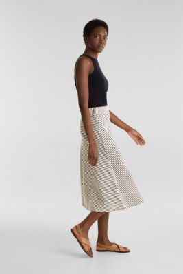 Jersey skirt with textured stripes, SAND, detail