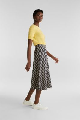 Jersey skirt with textured stripes, NAVY, detail
