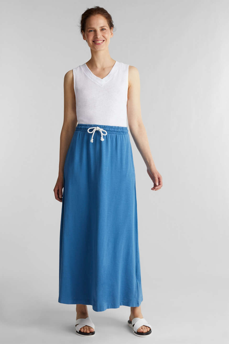 Jersey skirt made of 100% organic cotton, BRIGHT BLUE 2, detail image number 0