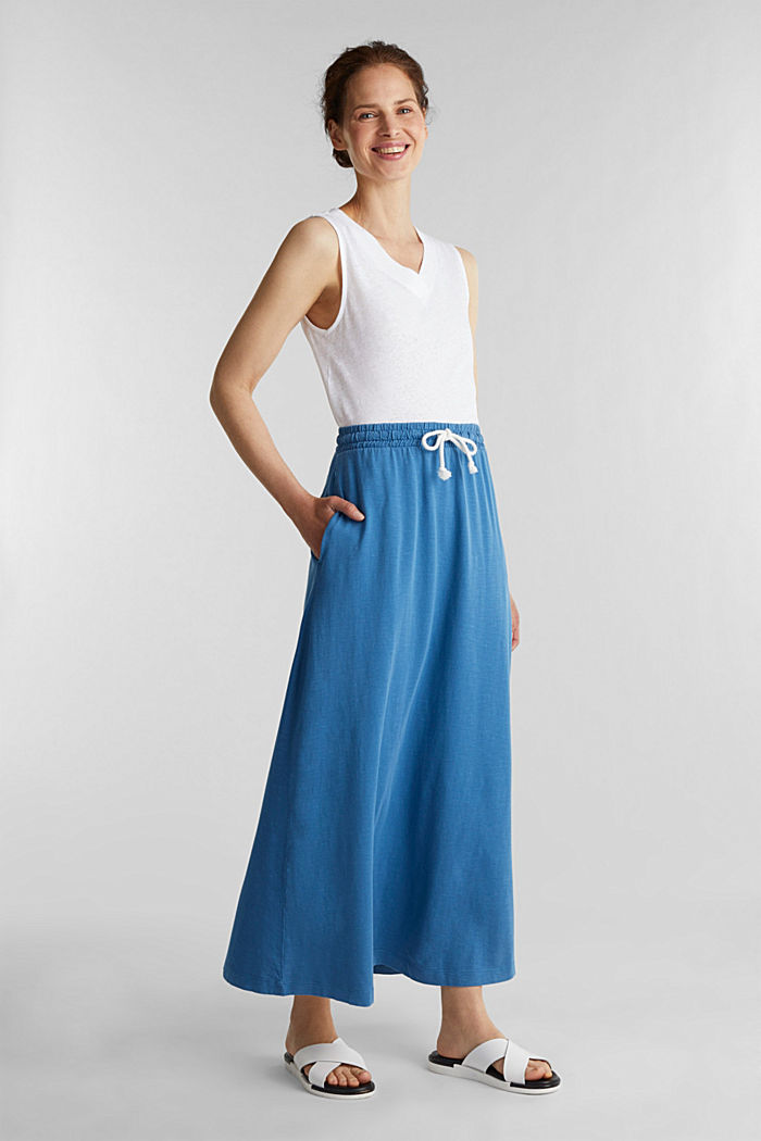 Jersey skirt made of 100% organic cotton, BRIGHT BLUE, detail image number 1