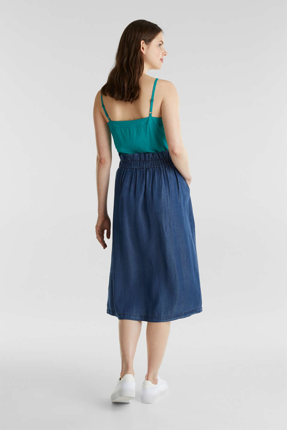 Skirt with a paperbag waistband made of TENCEL™, BLUE DARK WASH, detail image number 3