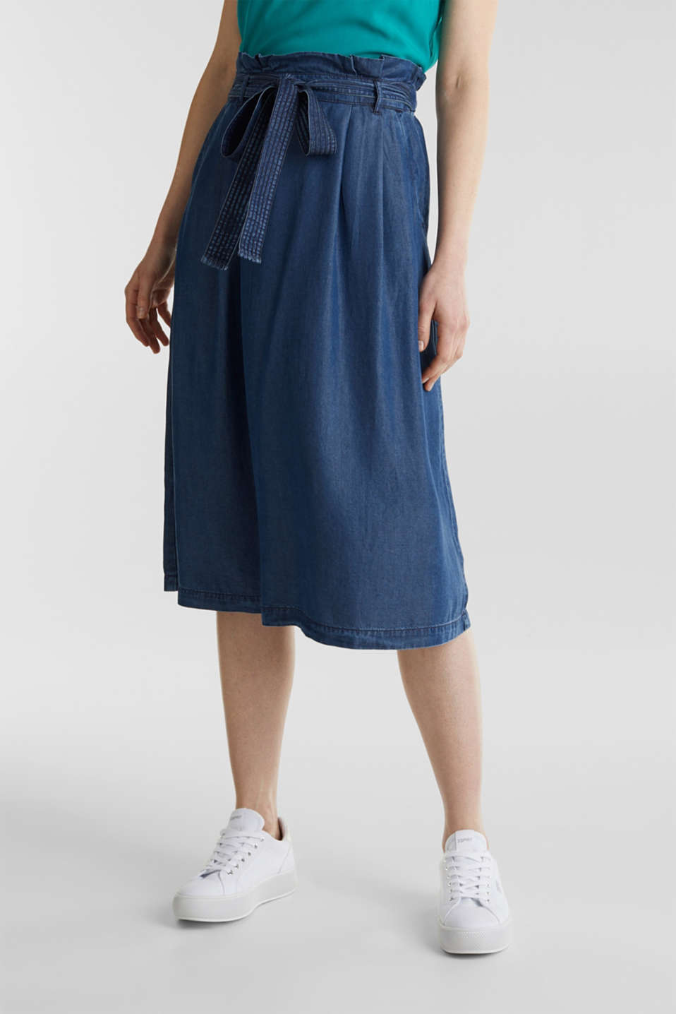 Skirt with a paperbag waistband made of TENCEL™, BLUE DARK WASH, detail image number 5