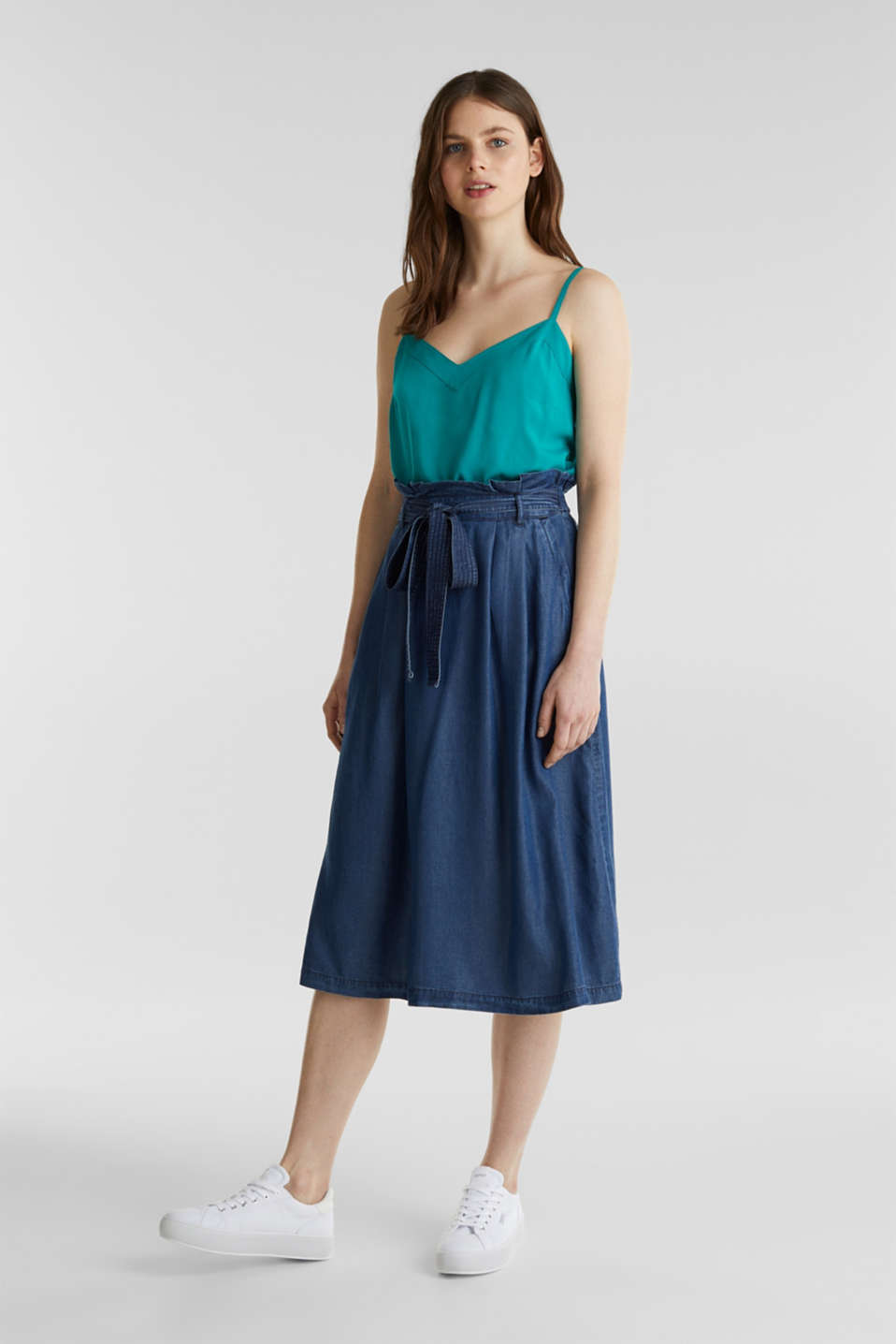 Skirt with a paperbag waistband made of TENCEL™, BLUE DARK WASH, detail image number 1