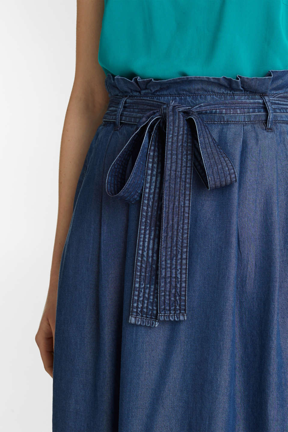 Skirt with a paperbag waistband made of TENCEL™, BLUE DARK WASH, detail image number 2