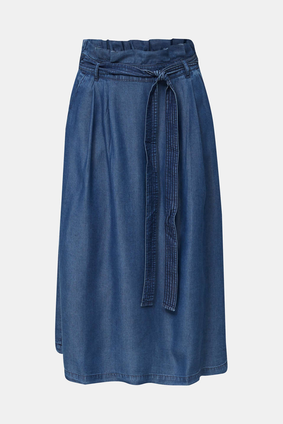 Skirt with a paperbag waistband made of TENCEL™, BLUE DARK WASH, detail image number 6