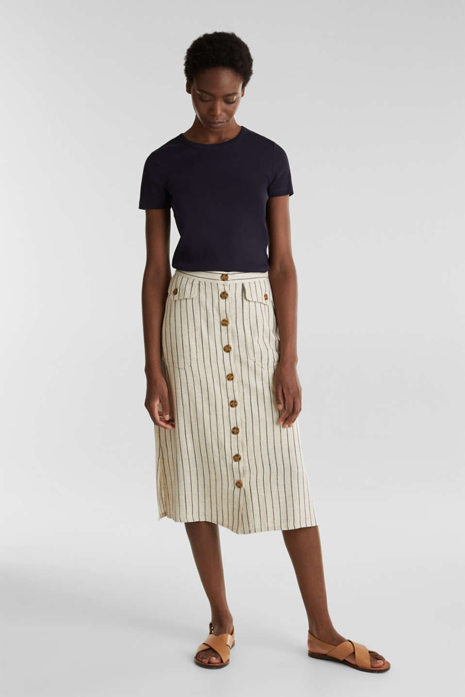 Esprit - Linen blend: skirt with a button placket