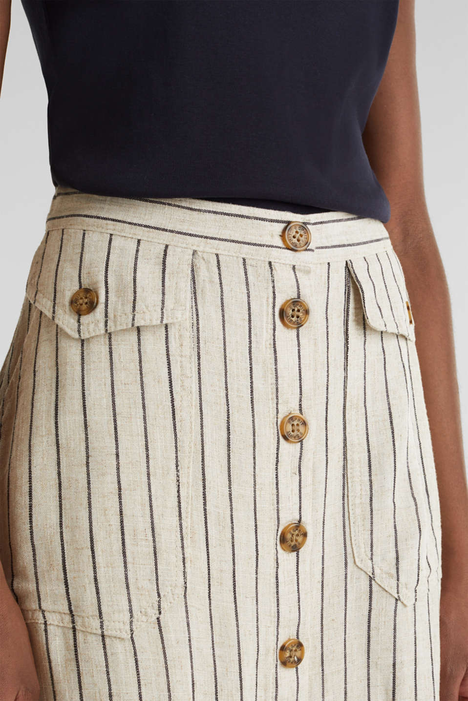 Linen blend: skirt with a button placket, SAND 4, detail image number 2