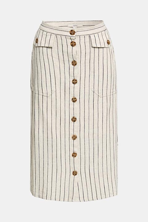 Linen blend: skirt with a button placket