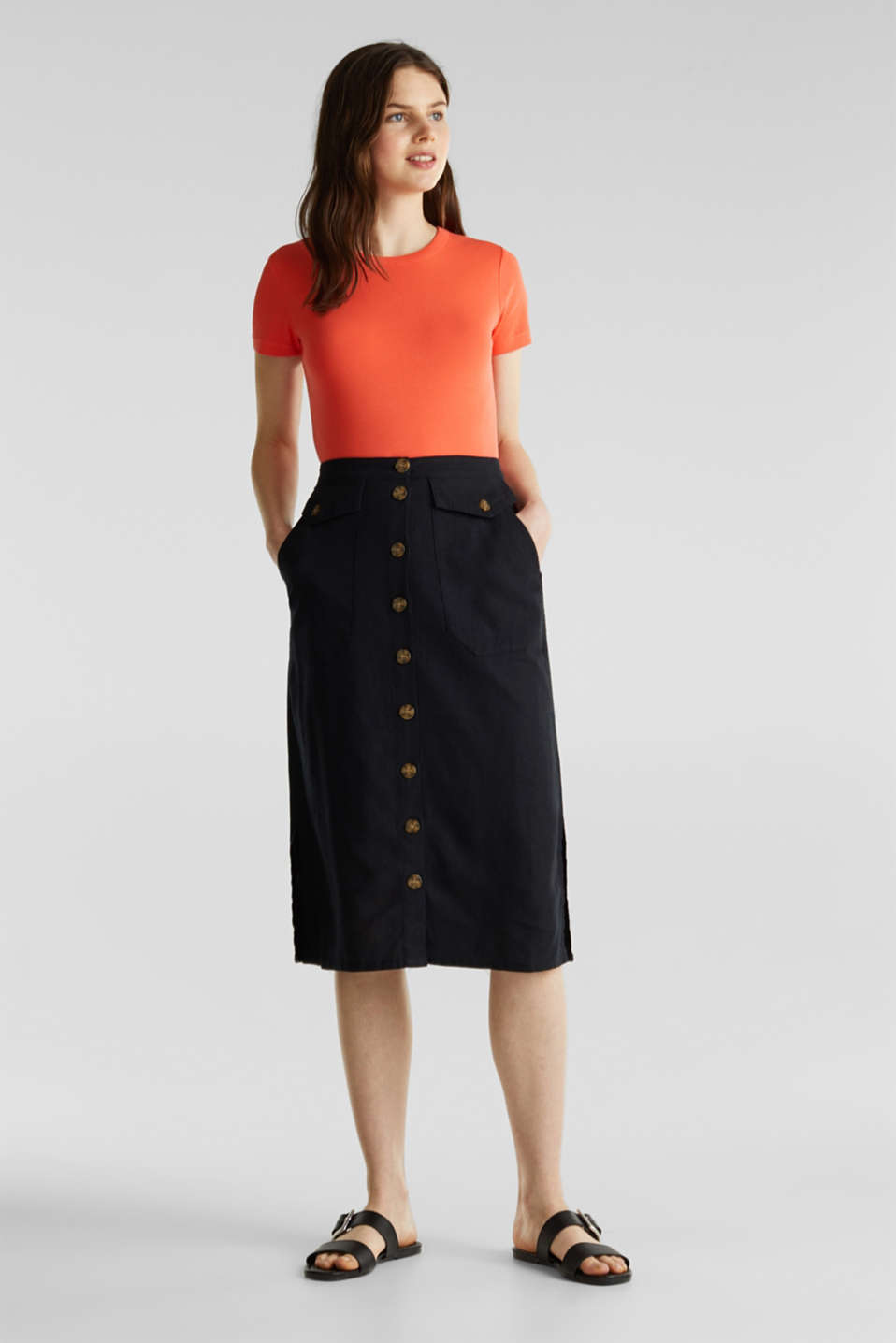 Linen blend: skirt with a button placket, BLACK, detail image number 0