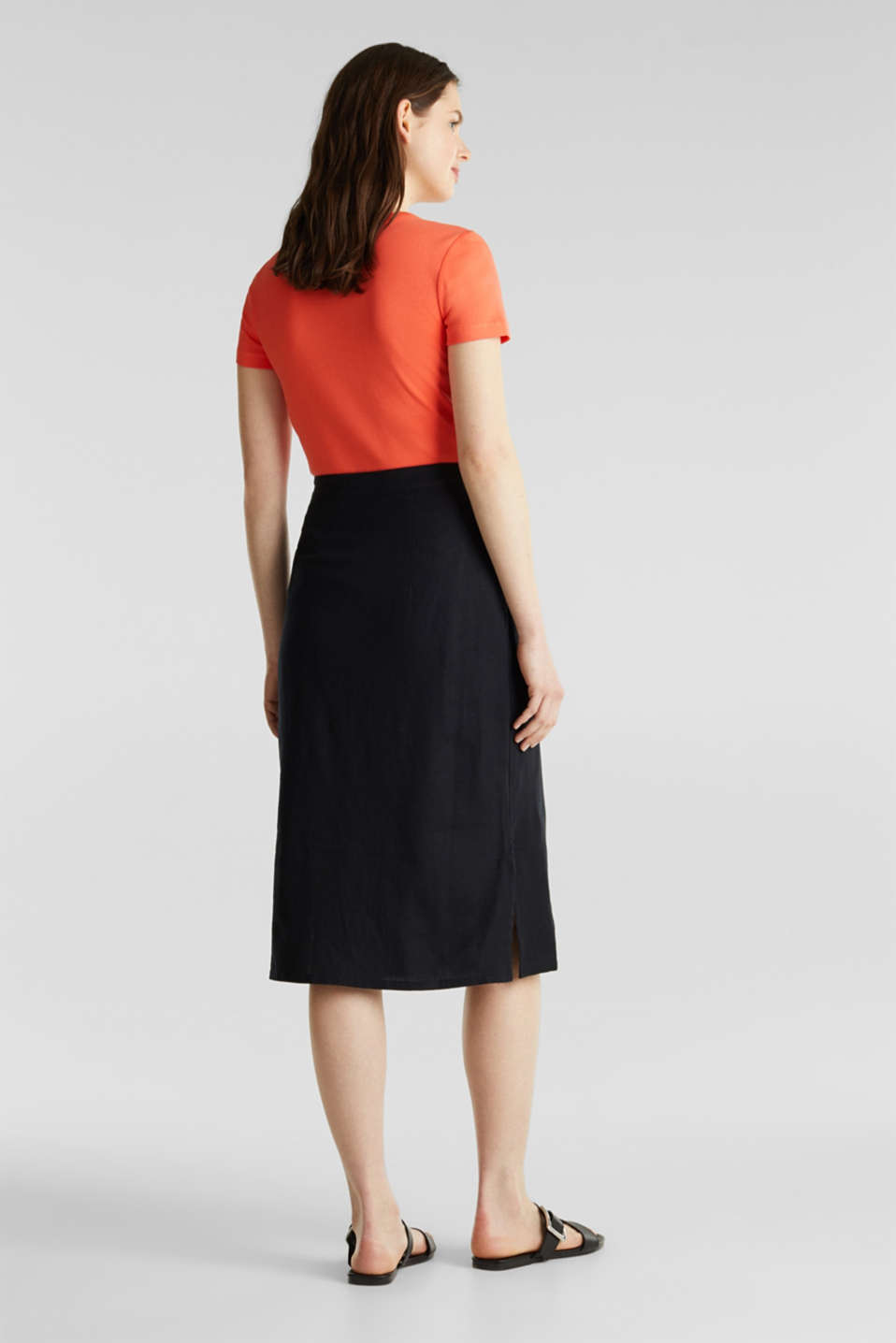 Linen blend: skirt with a button placket, BLACK, detail image number 1
