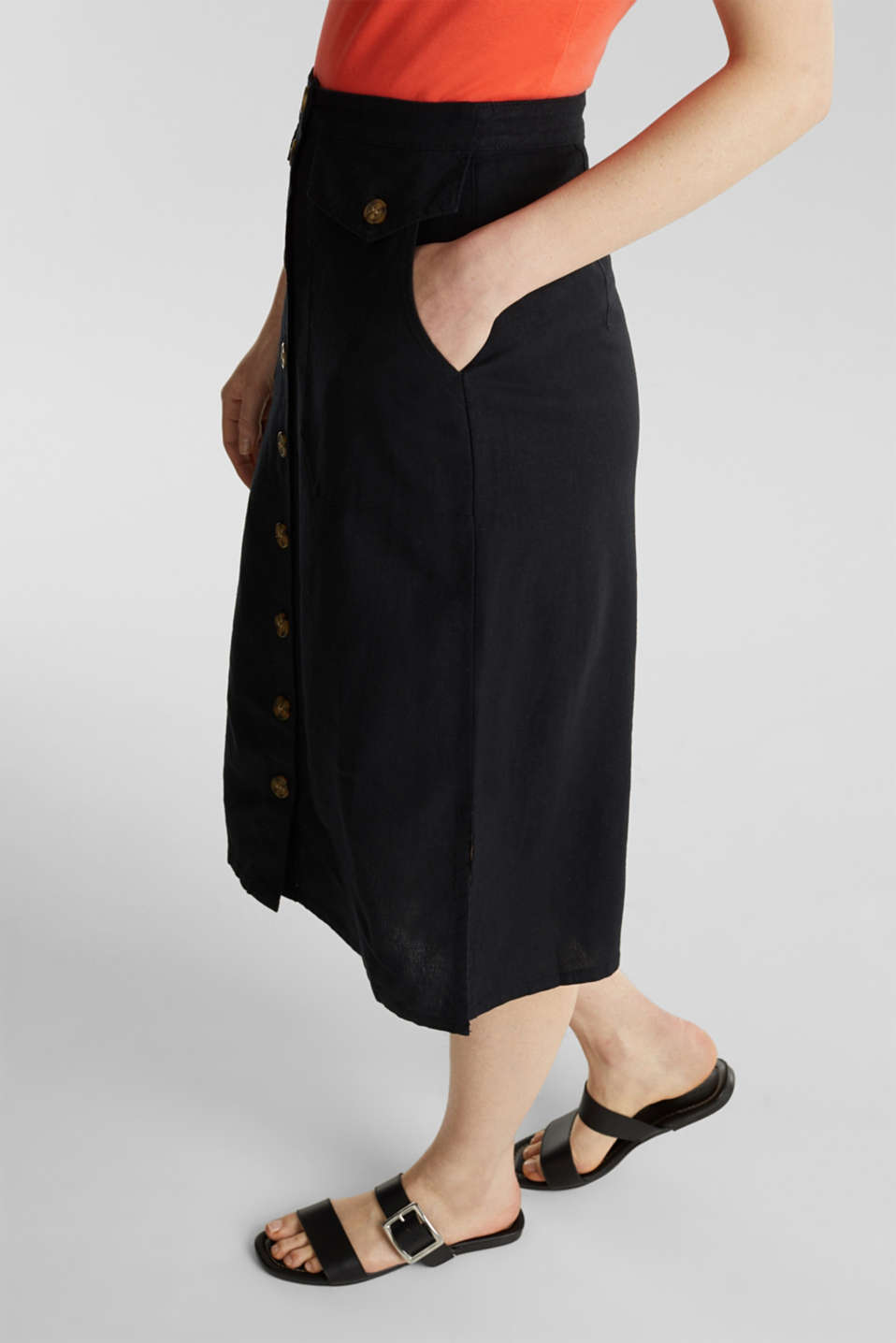 Linen blend: skirt with a button placket, BLACK, detail image number 3