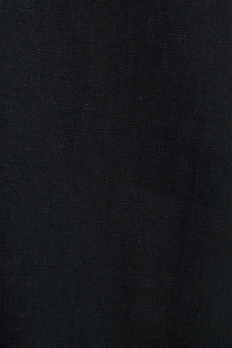 Linen blend: skirt with a button placket, BLACK, detail image number 2