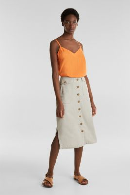 Linen blend: skirt with a button placket, SAND, detail