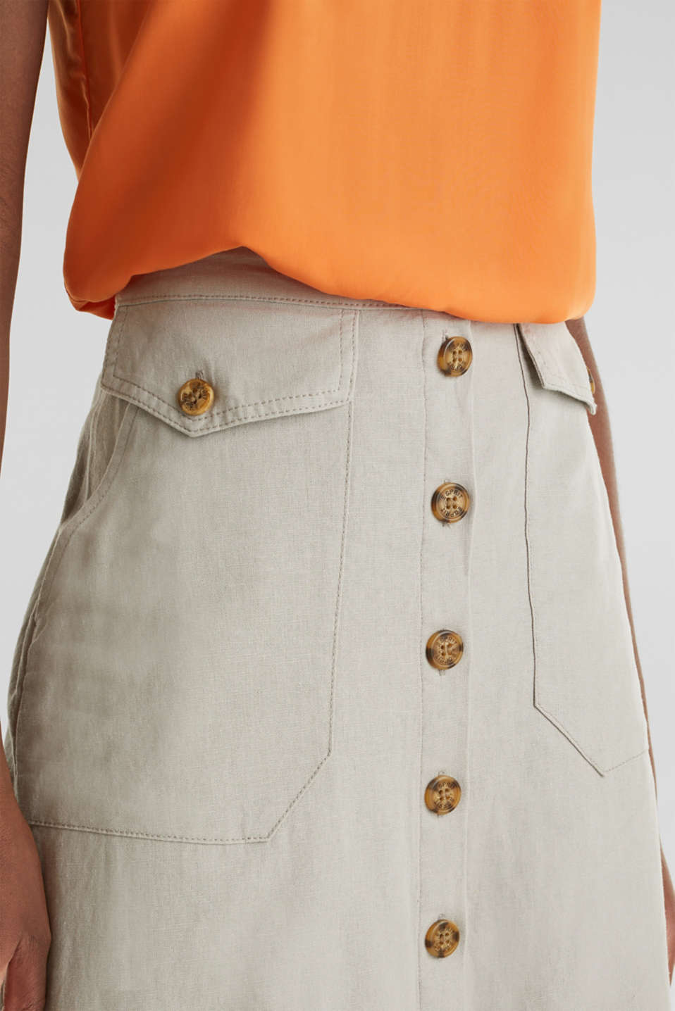 Linen blend: skirt with a button placket, SAND, detail image number 2
