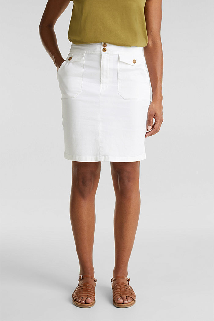 Woven skirt with large front pockets, WHITE, detail image number 0
