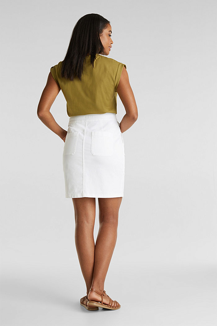 Woven skirt with large front pockets, WHITE, detail image number 3