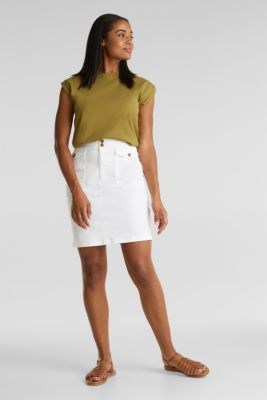 Woven skirt with large front pockets, WHITE, detail