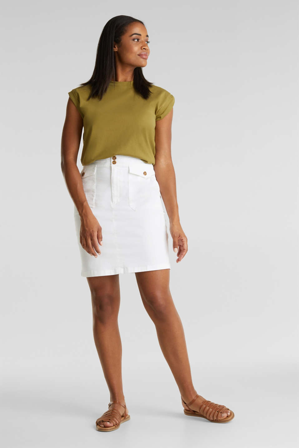 Woven skirt with large front pockets, WHITE, detail image number 1