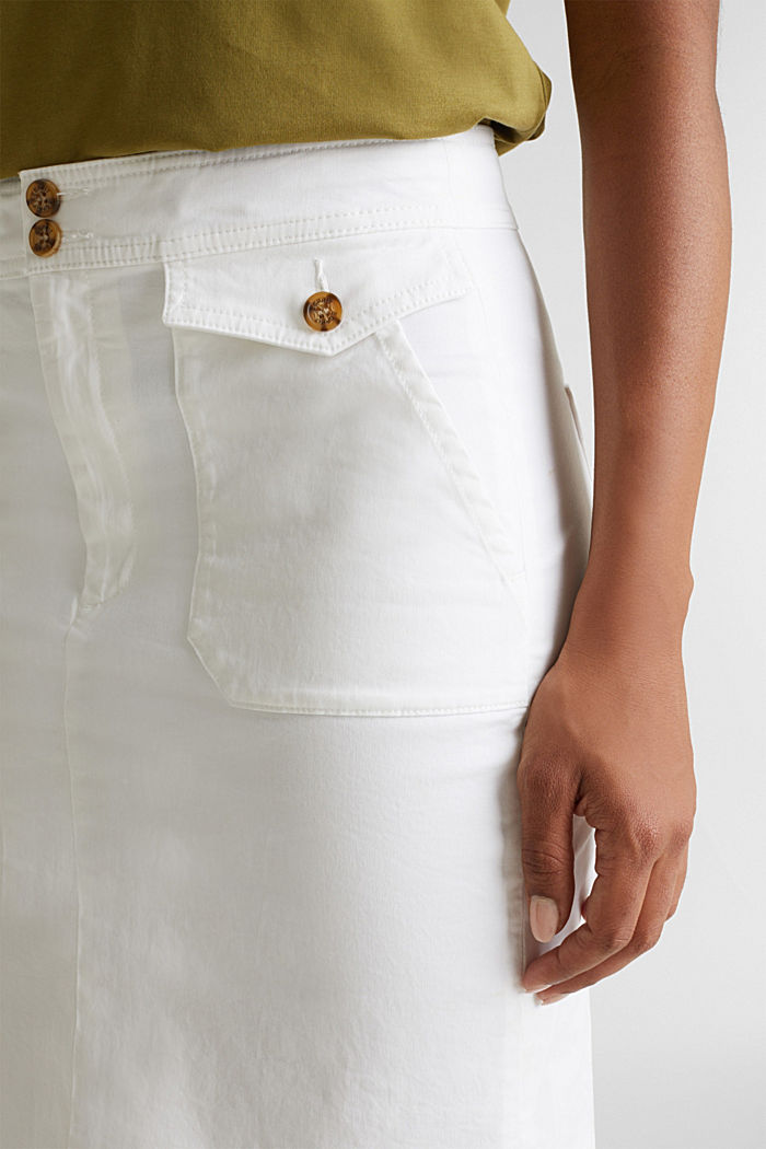 Woven skirt with large front pockets, WHITE, detail image number 2