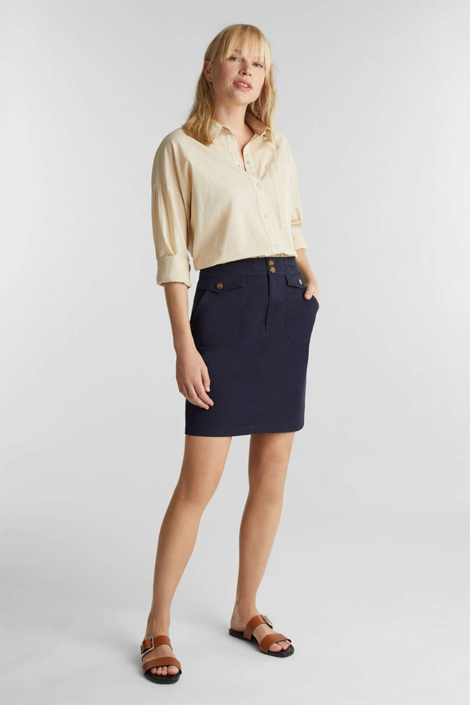 Woven skirt with large front pockets, NAVY, detail image number 0