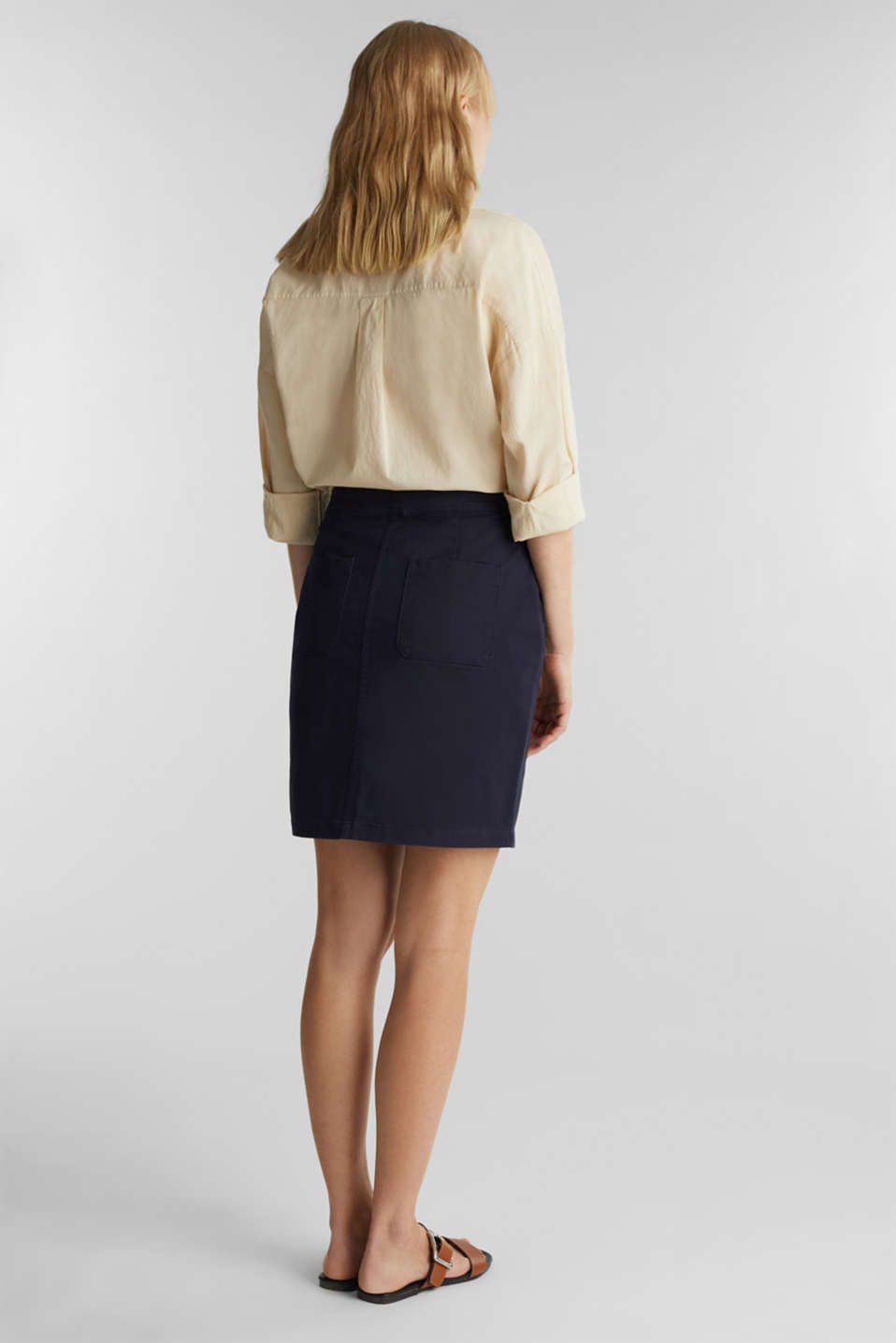 Woven skirt with large front pockets, NAVY, detail image number 3