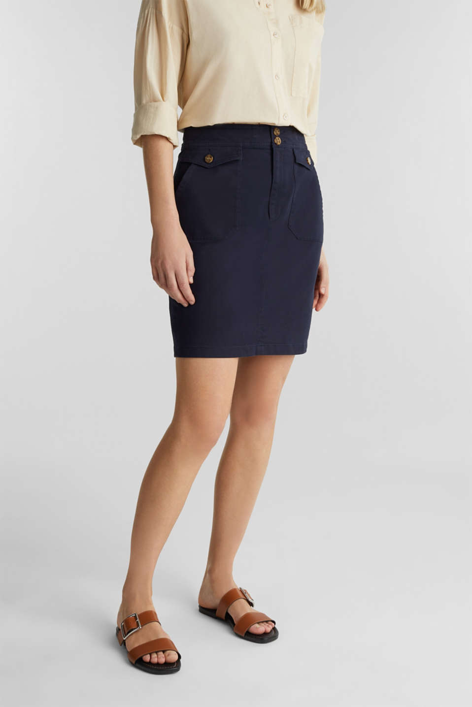 Woven skirt with large front pockets, NAVY, detail image number 5