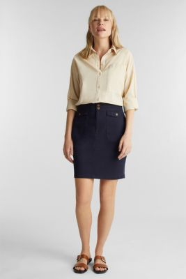 Woven skirt with large front pockets, NAVY, detail