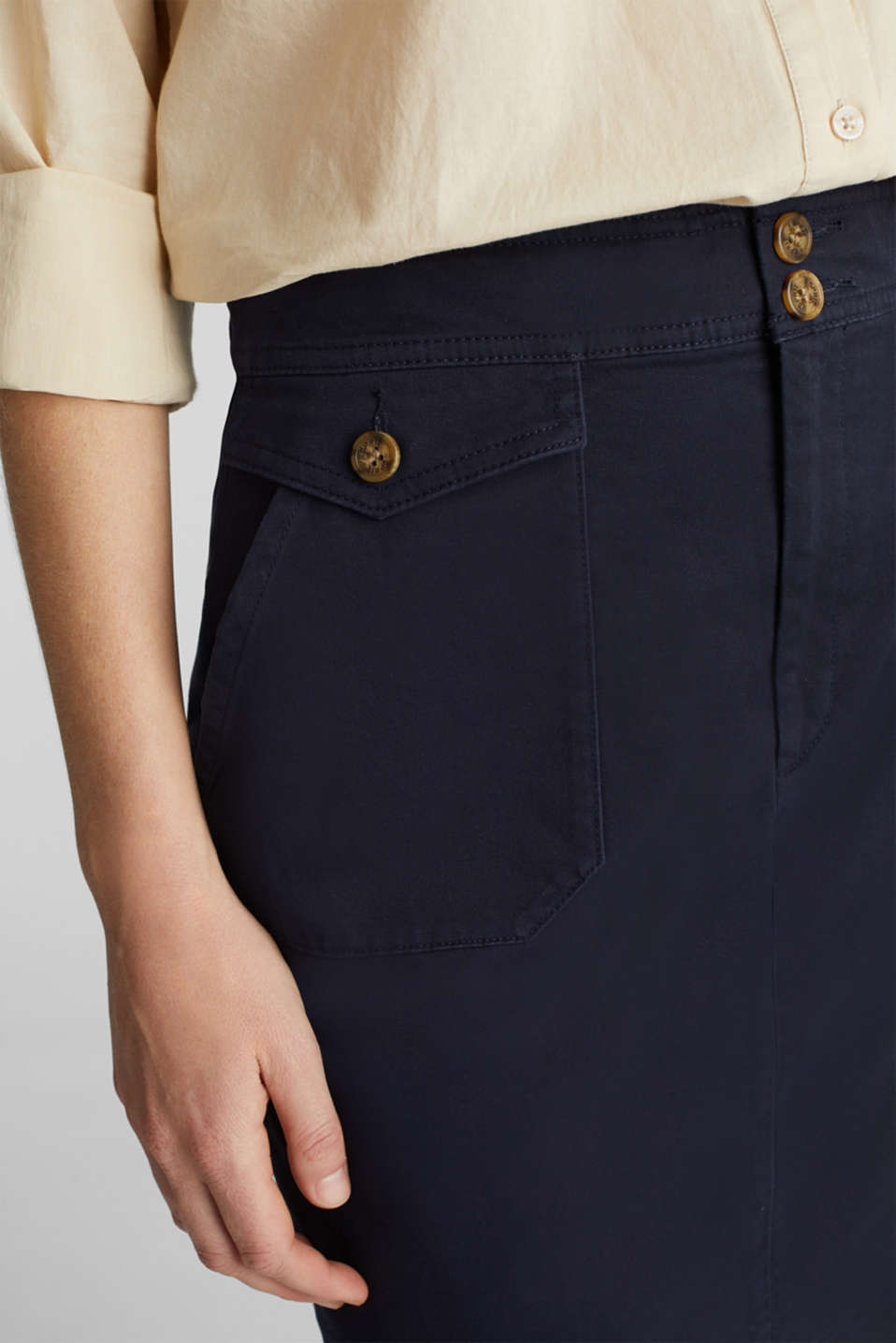 Woven skirt with large front pockets, NAVY, detail image number 2