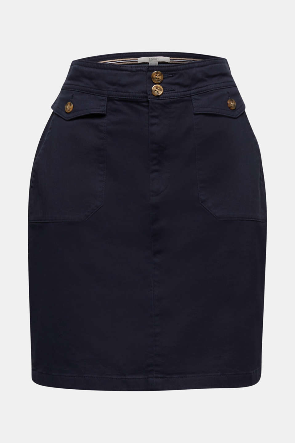 Woven skirt with large front pockets, NAVY, detail image number 6