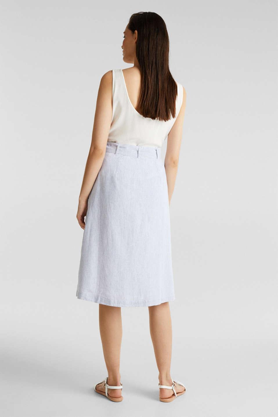 Made of blended linen: striped skirt, LIGHT BLUE 4, detail image number 3