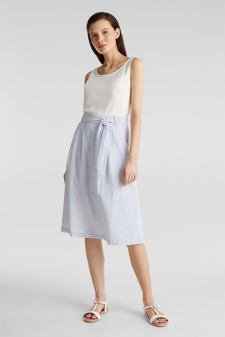 Made of blended linen: striped skirt, LIGHT BLUE 4, detail image number 1