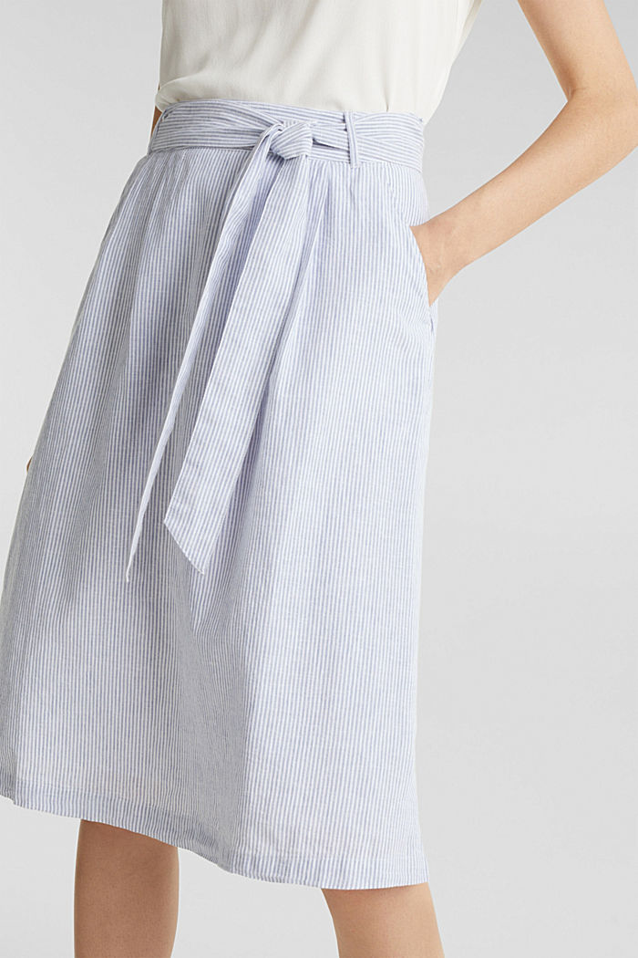 Made of blended linen: striped skirt, LIGHT BLUE, detail image number 2