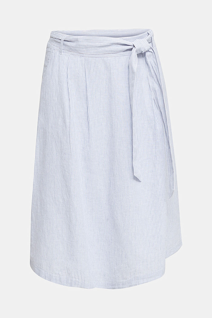 Made of blended linen: striped skirt, LIGHT BLUE, overview