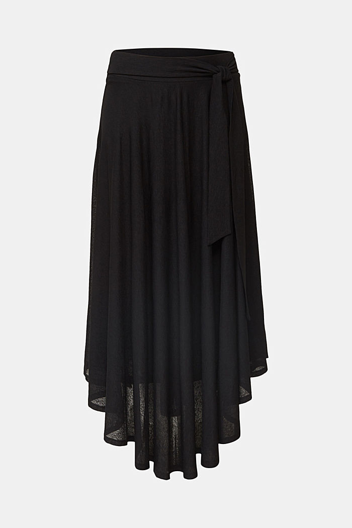 Gonna midi in jersey, BLACK, detail image number 6