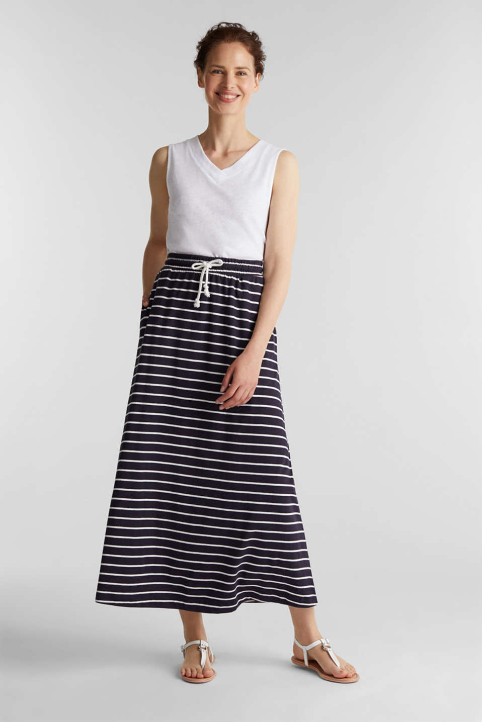 Esprit - Gonna maxi in jersey, 100% cotone biologico