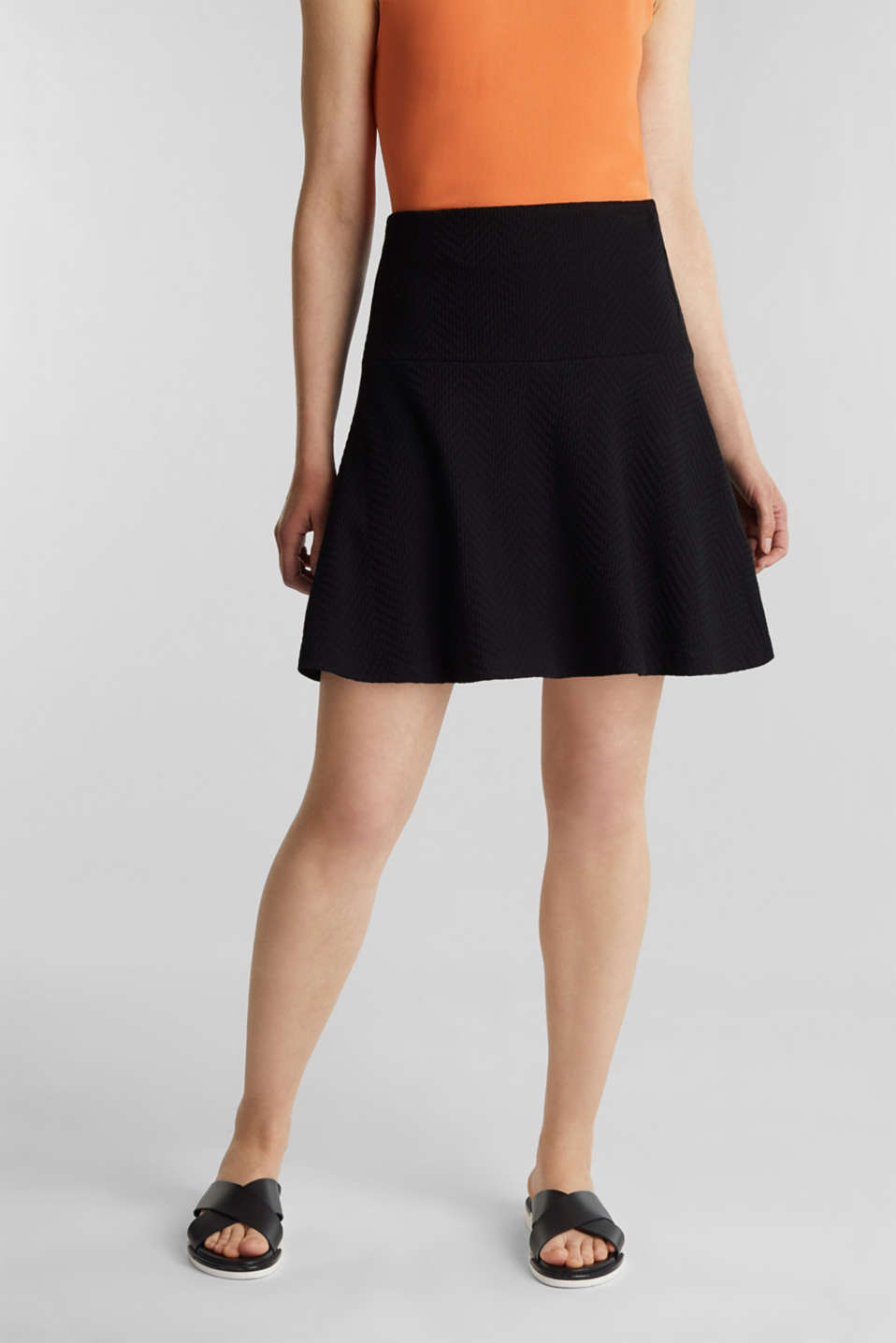 Textured jersey skirt, 100% cotton, BLACK, detail image number 5