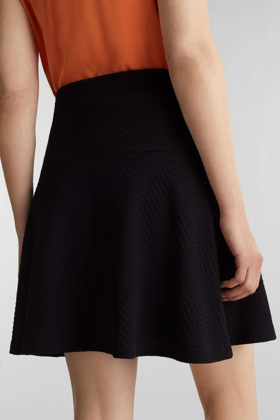 Textured jersey skirt, 100% cotton, BLACK, detail image number 2