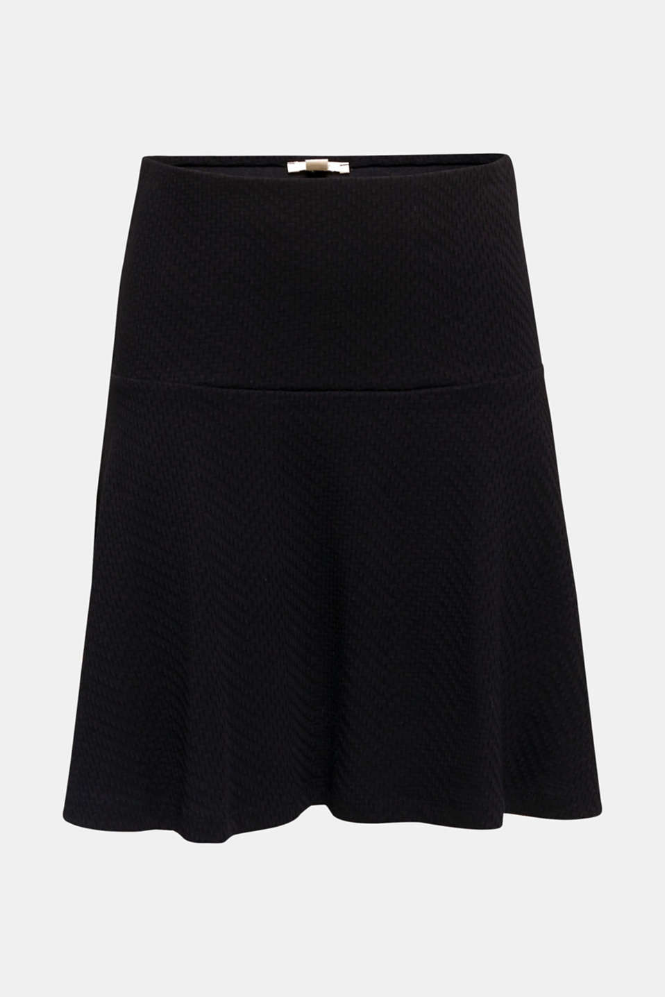 Textured jersey skirt, 100% cotton, BLACK, detail image number 6