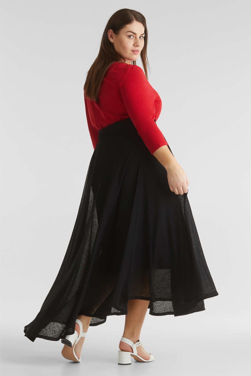 CURVY A-line jersey skirt, BLACK, detail image number 3