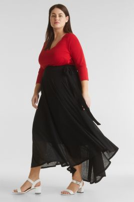 CURVY A-line jersey skirt, BLACK, detail