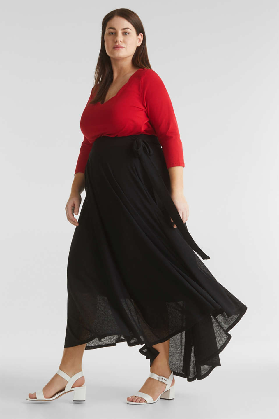 CURVY A-line jersey skirt, BLACK, detail image number 1