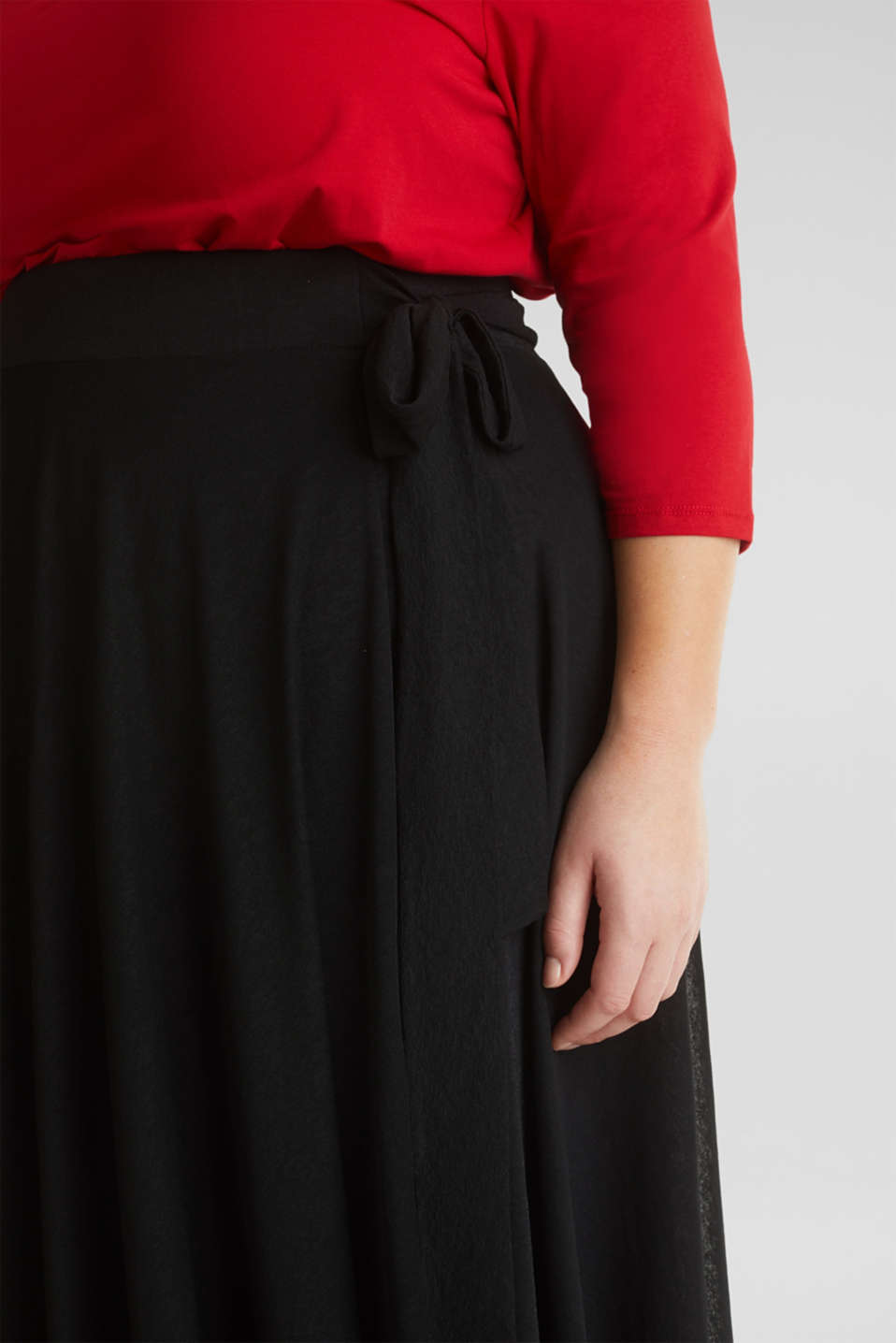 CURVY A-line jersey skirt, BLACK, detail image number 2
