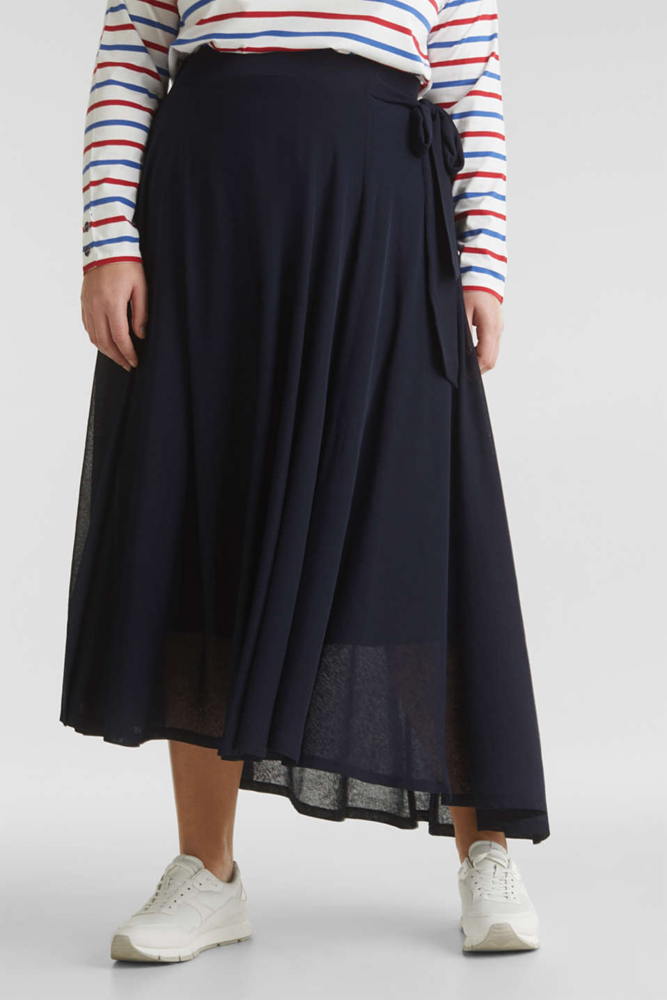CURVY A-line jersey skirt, NAVY, detail image number 0