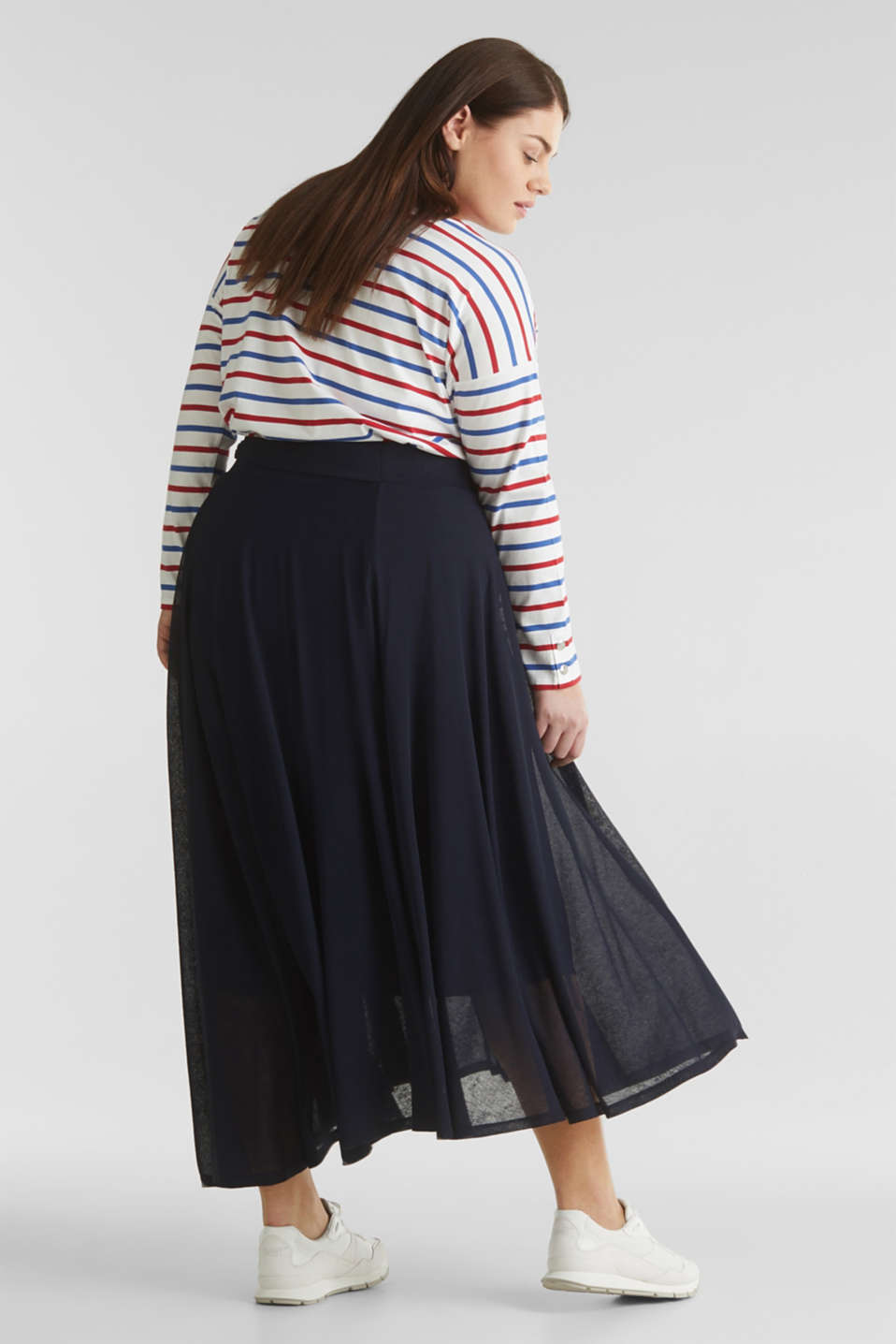 CURVY A-line jersey skirt, NAVY, detail image number 2