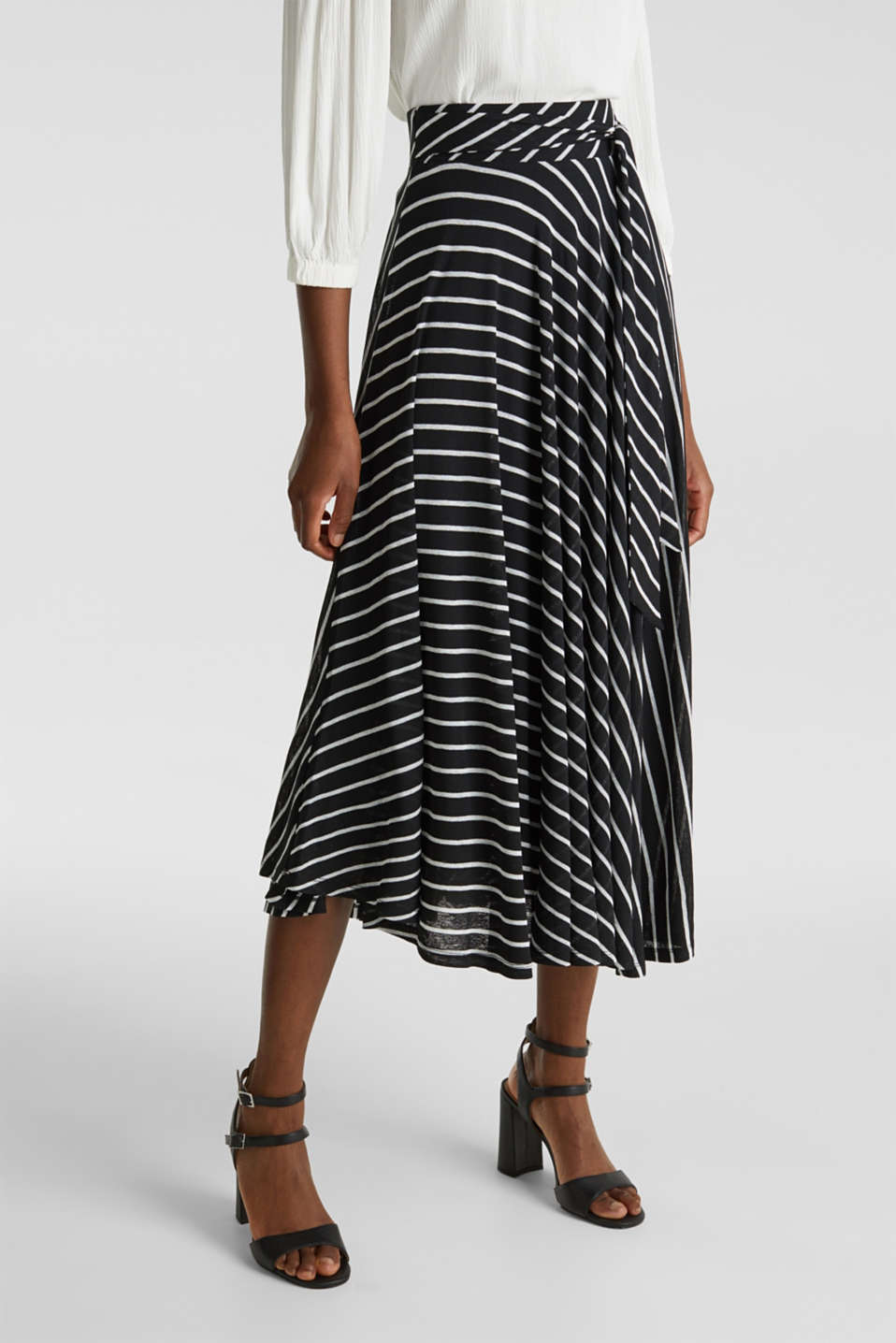 Esprit - Midi jersey skirt with an all-over print