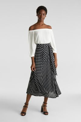 Midi jersey skirt with an all-over print, BLACK 2, detail
