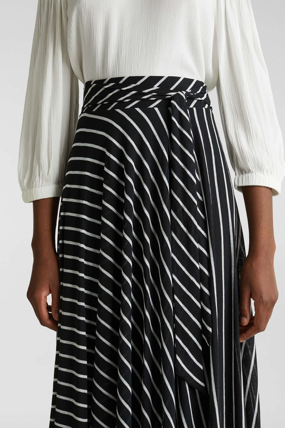 Midi jersey skirt with an all-over print, BLACK 2, detail image number 2