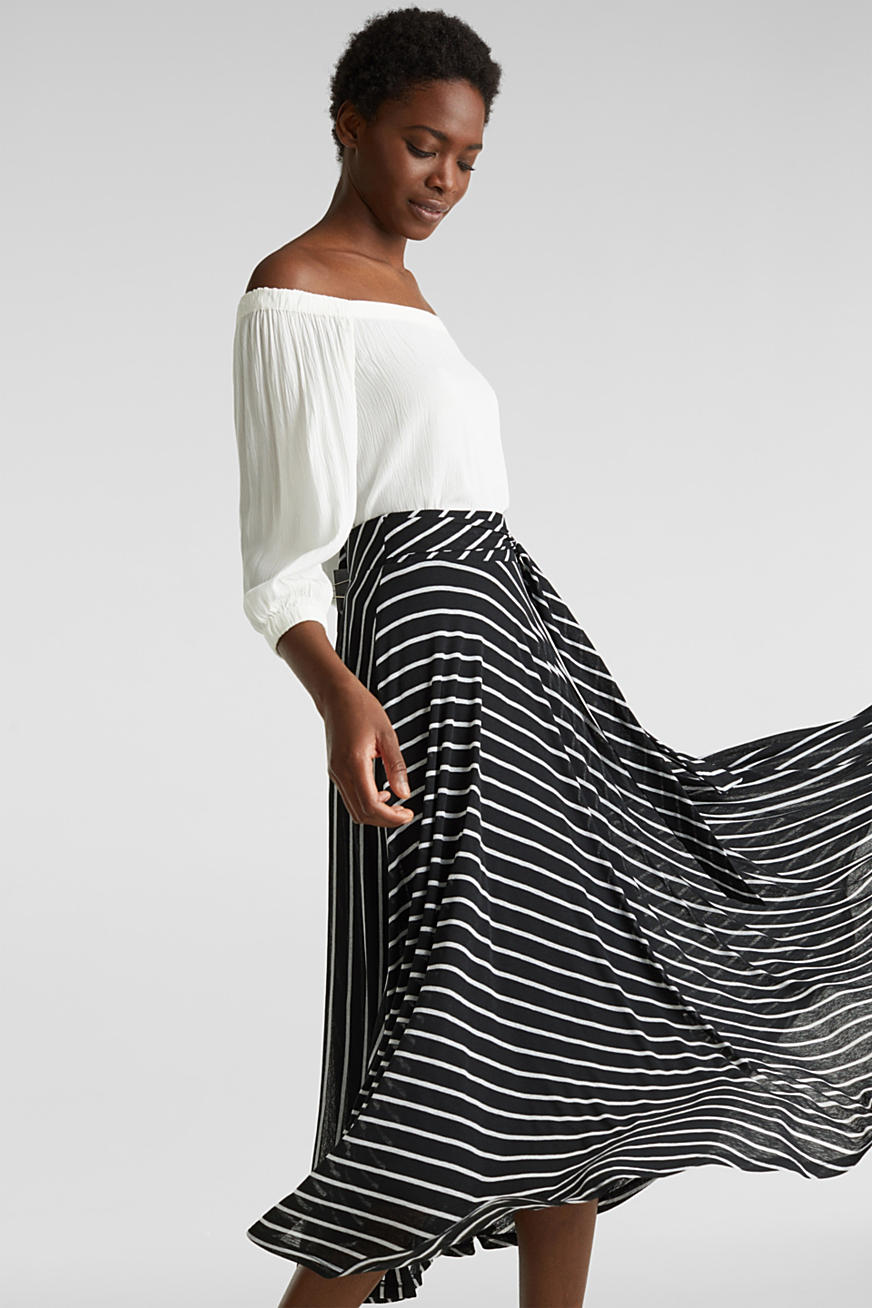 Midi jersey skirt with an all-over print