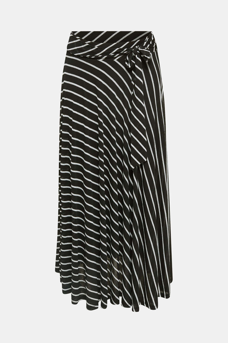 Midi jersey skirt with an all-over print, BLACK 2, detail image number 7